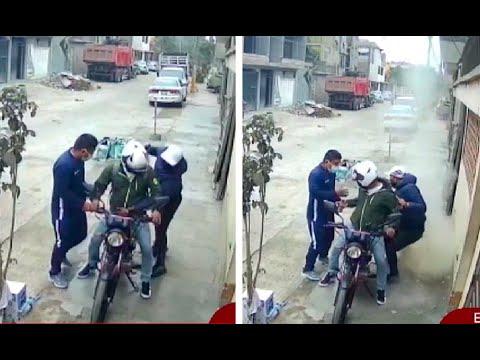 [VIDEO] Evitan que un automovilista sea robado arrojando una bolsa de cemento a los ladrones